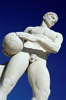 Rome. Italy. Marble statues of naked male athletes in the fascist era Stadio dei Marmi, in the Foro Italico sports complex