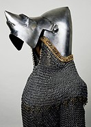 Beaked visor, open, detail from bascinet with pig faced snout (visor) and chain mail, 1350-1360, made in Milan. Italy, 14th century