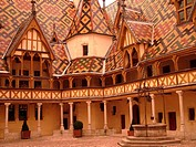 France, Beaune, Burgundy, Cote de Beaune, Cote d'Or, Europe, Burgundy Wine Region, downtown, Hotel-Dieu, Cour d'Honneur