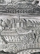 Rivoli Castle at the time of Charles Emmanuel I, engraving from Civitas Veri by Bartolomeo Del Bene, 1609. Italy, 17th century.  Turin, Biblioteca Rea...