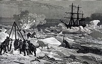 The crew of the Tegetthoff freeing the ship from pack ice with saws, axes and explosives, 1872, engraving from an account of Julius von Payer's expedi...