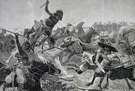 Assault on an English transport convoy at Souakim. Sudan, 19th century.