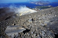 Fumaroles from Gran Cratere (The Great Crater) or Fossa di Vulcano on the island of Vulcano, Aeolian Islands or Lipari (UNESCO World Heritage List, 20...