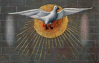 Dove on the Sun, symbol of the Holy Spirit, detail from the Pentecost, ca 1450, from the Master of Budapest, painting on wood.  Private Collection