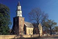 church, Colonial Williamsburg, Virginia, VA, Williamsburg, Bruton Parish Church in the 18th century village of Colonial Williamsburg in Colonial Willi...