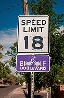 """Special speed limits are enforced in """"""""Bicycle Boulevards"""""""" where cars and bicycles have a speed limit of 18 miles per hour."""