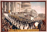Haverley's Minstrels as they appeared by special invitation at the inauguration of President Garfield. The band ascending the steps of the Capitol bui...
