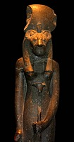 18th dynasty seated statue of the goddess Sekhmet, from Thebes, Egypt. (approx. 1350 BC). Egyptian. Black Granite.