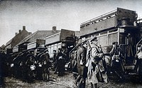 IAM-0600034 From billets to trenches by motor bus British soldiers about to board the familiar London vehicle somewhere in Flanders