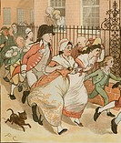 'An Elegy on the Death of a Mad Dog' by Oliver Goldsmith.  Neighbours rushing to help the good man of Islington. Illustration by Randolph Caldecott