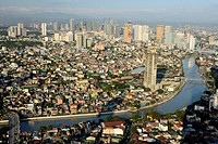 Tall buildings on Ortiga Avenue, Pasig River and Mandaluyong beyond, Metromanila, Philippines, Southeast Asia, Asia