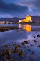 Eilean Donan Castle on Loch Duich at twilight, Western Highlands, Scotland, United Kingdom, Europe