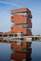 Museum Aan de Stroom MASS, Antwerp, Belgium by Neutelings Riedijk Architects. View from waterside., NEUTELINGS RIEDIJK ARCHITECTEN, BELGIUM, Architect...