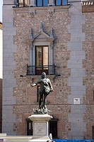 Benlliure's statue of Alvaro de Bazan in the Plaza de la Villa in front of the City Hall, Madrid, Spain.