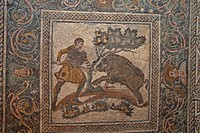 Roman mosaic from villa, hunting wild boar, National Museum of Roman Art, Merida, Extremadura, Spain