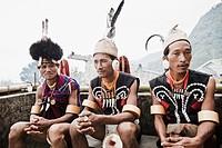 Naga tribal warriors in traditional outfit, Hornbill Festival, Kohima, Nagaland, India