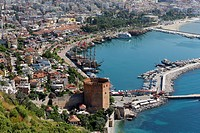 Historic town centre of Alanya with the port and K?z?l Kule or Red Tower, view from Castle Hill