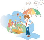 Young Business Man Standing With Umbrella