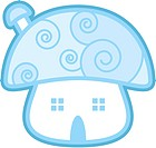 Blue mushroom-looked house