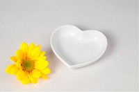 flower and heart shaped dish