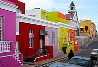 Colorful homes in Cape Malay, Bo-Kaap neighbourhood, Cape Town, South Africa.