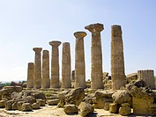 Pillars of the Temple of Heracles in the Valley of the Temples, archaeological site in Agrigento, UNESCO World Heritage Site