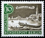 Spree river and Waisenbrucke Orphans Bridge, postage stamp, Germany, 1962