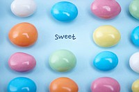 colourful candies with a word sweet