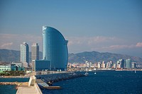 architecture, Barcelona, boat, Catalonia, city, district, hotel, modern, new, Olympic, Spain, Europe, towers, mapfre, vela