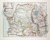 MAP OF EQUATORIAL AFRICA THE REPUBLIC OF MOZAMBIQUE THE REPUBLIC OF ANGOLA UGANDA KENYA 1899