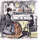 Governess and boy at the restaurant 1873 suitcase table food mineral water hot luncheon cafe pudding jolly table cloth hat counter servants waitress t...