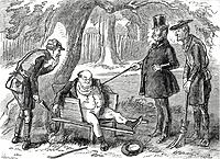 Pickwick Papers Who are you you rascal? said the captain administering several pokes to Mr. Pickwick's body with the thick stick. What's your name?