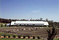 SYDNEY OLYMPICS, HOMEBUSH BAY, SYDNEY, AUSTRALIA, EQUUS 2000.SCOTT CARVER TIM COURT&CO/SJPH DESIGN, EXTERIOR, SOUTH EAST FACADE.