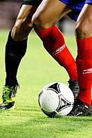 Date: 12-9-2012.Lugo Cup match CD Lugo - Racing Santander. Two players fight for the ball.