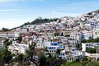 View of the city, Chefchaouen (Chaouen), Tangeri-Tetouan Region, Rif Mountains, Morocco.