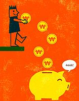 an illustration of money going in a piggy bank