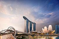 Helix Bridge and Marina Bay Sands Hotel, Singapore.