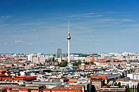 Skyline with Television Tower of Fernsehturm in Berlin Germany.