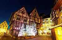 Christmas lights at the city center by night. Colmar. Wine route. Haut-Rhin. Alsace. France.