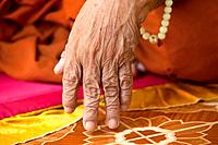 Details of the hand of an 80-year-old blind monk lives in a temple in a village near Battambang, Cambodia.