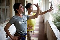 Young dancers practice traditional Cambodian dance which they perform at the National Museum in Phnom Penh, Cambodia.