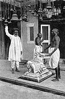 old vintage photo of Interior of walkeshwar temple Mumbai Maharashtra India