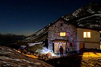 Wiwannihut refuge at night, above Ausserberg, Canton of Valais, Switzerland