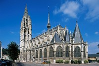 France, Normandy, Caudebec-en-Caux, exterior of Gothic cathedral