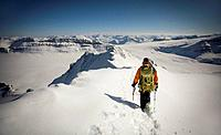 Man ski mountaineering on Mt Collie, Wapta Icefield, Yoho National Park.
