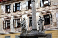 Old buildings and staues in the main square (mestni trg), Skofja Loka, Slovenia, Europe