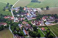 aerial view to village with many solar roofs, Germany, Bavaria, Prenzing