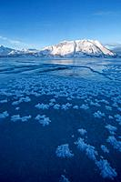 Ice crystals grow on the frozen surface of Kluane Lake with Sheep Mountain lighting up in the distance. Kluane National Park, Yukon. Overflow can be s...