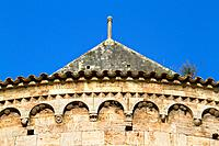 Detail of San Pere Monastery (10th - 12th century), in Besalu, a medieval village declarated Historical-Artistic Site, ubicated in La Garrotxa, Girona...