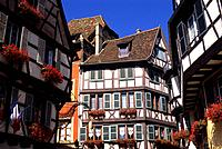 FRANCE, COLMAR, HALFTIMBERED HOUSES.